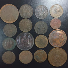 World - Lot of 16 coins (East India, Straits Settlements, Sumatra, etc...) from 18th to 20th century - Bronze