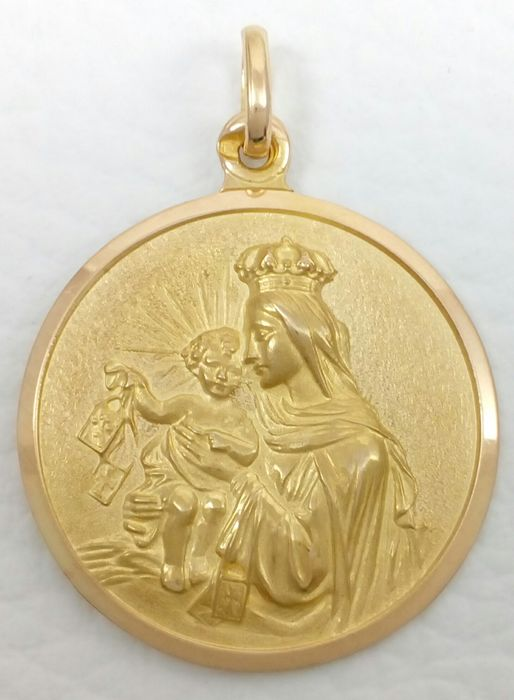 18 kt yellow gold scapular medal of Our Lady of Mount Carmel/Sacred Heart