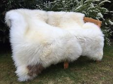 Two very soft - thick - XXL large 140 x 70 cm - nature white sheepskins/lambskins