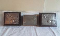 3 vintage jewel boxes with lid in silver 925 - 2 signed Brunel, 1 signed Ottaviani
