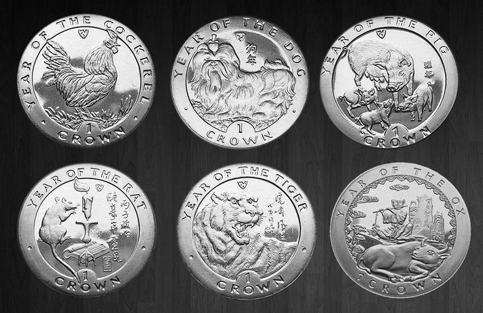Isle of Man - Crowns 1993/1998 'Year of the Rooster, Rat , Dog, Pig, Tiger & Ox' (6 different)