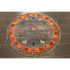 Beautiful round Persian carpet, Gabbeh, 150 cm, wool on wool, nomad's work, made in Iran, Tappeto Tapijt Tapis rug carpet