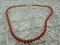 Red Mediterranean coral necklace with 18 kt gold clasp – 53 cm