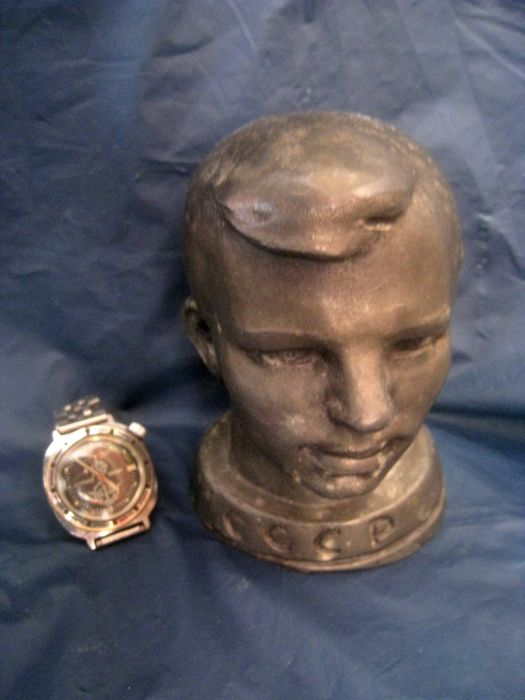 "Bust - Yuri Gagarin. and wrist watch ""Vostok"" 80s years . the USSR. Made in USSR. 20th century"