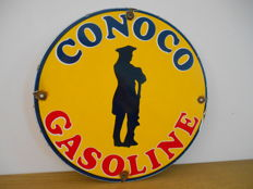 Enamel sign for Conoco Gasoline from 1980 - USA