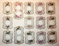 14 plates, hiding for switches or electrical outlets, white porcelain Eclairalux, Belgium, mid 20th century