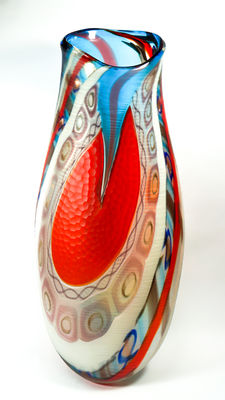 Fabiano D'Este (D'Este glassworks) - big exclusive battuto vase (unique piece 1/1 - 65 cm)