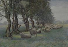 P W Butler. (19/20th century) - Sheep resting under a row of trees.