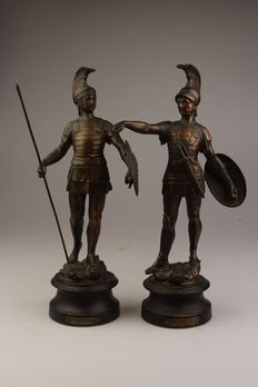 """Two fighters/Roman soldiers - performances of """"la guerre"""" and """"la paix"""" - France - circa 1920"""