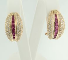18k yellow gold clip-on earrings set with ruby and 148 brilliant cut diamonds of in total approx. 1.00 carat - 1.8 cm long