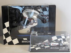 Minichamps - Schaal 1/2-1/43 - Kavel met Minardi F1X2 J. Verstappen 'Thunder At The Rock' Rockingham 2003 & helm