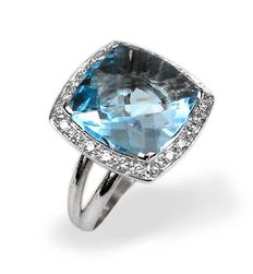 White gold ring (18 kt) – blue topaz (8 ct) – natural diamonds (0.24 ct) – ring size 12 (IT); 6 (US);  52 (FR);  M (UK)