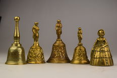 Five table bells with relief/engraving - brass/bronze - France - 20th century