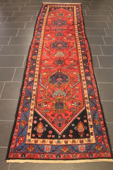 Old high quality handwoven Persian carpet, Malay, Made in Iran around 1930, plant colours 110 x 400 cm