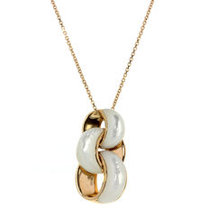 Chimento – 'Infinity' rose gold necklace with pendant set with mother-of-pearl – Length pendant 28.42 mm, width 15.25 mm