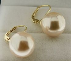 Yellow gold, 14 kt earrings, each set with a 12 mm pearl