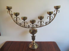 Large neo Gothic church candlestick IHS altar candlestick - Belgium - 19th century