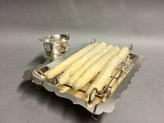 Silver plated tray for asparagus, with separate bowl for sauce, Mappin & Webb, Sheffield, England, ca. 1940