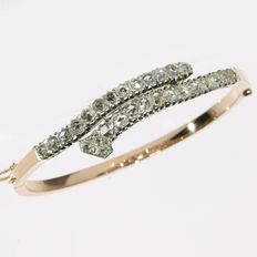 Antique gold rose cut diamond bangle bracelet - anno 1880