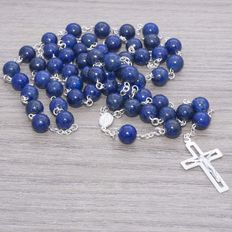 Lapis lazuli stone rosery with sterling silver