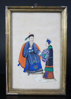 Canton painting with officer – China – 19th century