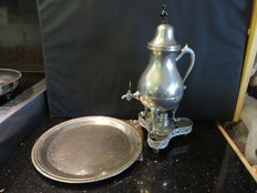 Tin coffee set silver plated with scale. Around 1900.