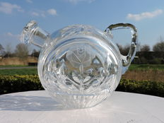 Crystal tea pot on stand with floral sharps