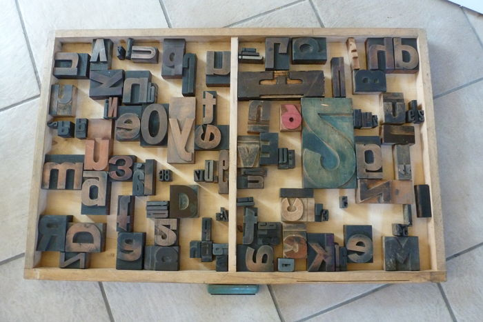 Old printer's tray drawer from a typecase cabinet of a printing