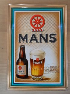 Very rare glacoide advertising sign for 'Mans' gueuze beer from 1957