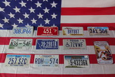 Nice set of 10 American license plates - 30BJP66 - N3654F - 257SZC - 451TP - 392987A - RDH574 - BHY887 - 7ZVWF - 543236A - 2A1504