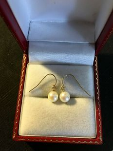 14 kt yellow gold dangle earrings with saltwater pearls. Diameter pearl:  6.5 mm, 1.0 g