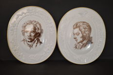 Meissen - 2 Image mural plates - Beethoven and Mozart - limited edition
