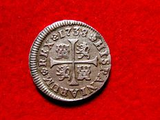 Spain– Felipe V (1700 – 1746) , 1/2 real silver coin, minted in Madrid, in 1738. Assayer J.F.