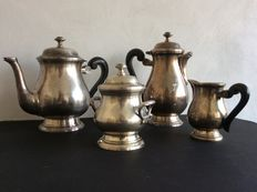 Tea and coffee set, Silver plate. -Signed LE CHARDON