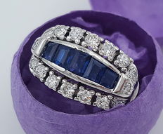 Ladies' diamond ring, 750 / 18 kt white gold with 16 brilliants and 5 sapphirs, size 51 / 16.2 mm
