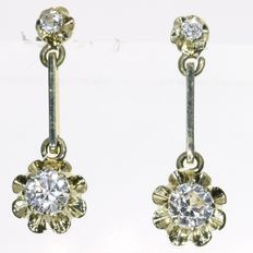 White sapphire gold earrings from the forties