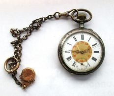 Antique Pocket Watch,- Silver 800 - With Antique Real Gold Pendant. *** No Reserve Price ***