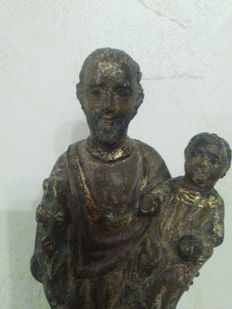 Wooden sculpture of Saint Joseph with Baby Jesus - 18th / 19th centuries