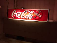 Rarity large illuminated Lightbox 80s Coca Cola 102 x 25 x 13cm two-sided collector advertising classic neon