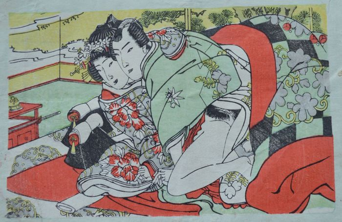 An original erotic Shunga attributed to the Utagawa school – Japan –  ca. 1890