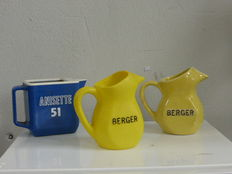 4 advertising pitchers Berger and Anisette, origin France, CIRCA 1950 to 1990