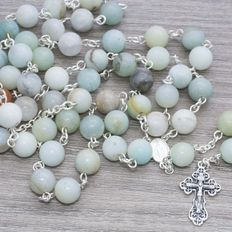 Amazonite stone rosary with sterling silver