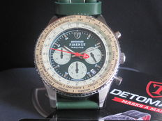 DETOMASO Firenze Racing Green Mens Watch Chronograph Stainless Steel Green Leather Strap New