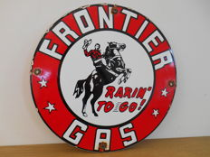Enamel sign for Frontier Gas from 1980 - USA