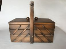 Wooden folding travel sewing box with contents from The Netherlands