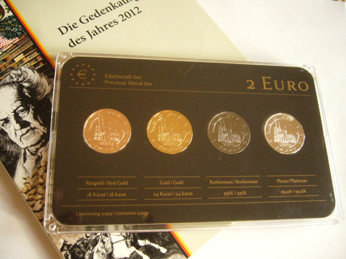 Germany - 2 Euro 'Cologne Cathedral' 2011 (4 plated coins) Precious Metal Set + lot of 5 commemorative coins 2012