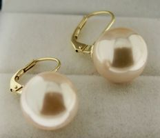 Yellow gold pearl earrings of 14 kt, 14 mm