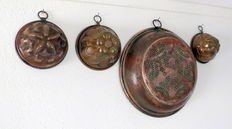 3 Antique copper pudding shapes and kitchen sieve