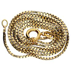 Yellow gold Venetian link necklace in 14 kt - 41 cm