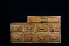Solid oak tool chest with 9 drawers - France - ca. 1920